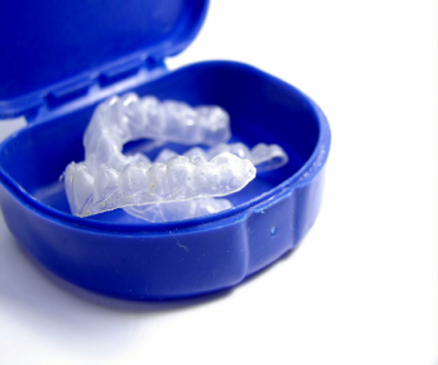 Photo of teeth whitening trays and case from Plano dentist Miranday Lacy DDS.